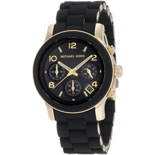 Michael Kors Ladies Runway Chronograph Black & Gold Bracelet Watch MK5191