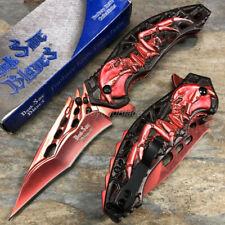 Dark Side Blades Red Alien Skull Survival Camping Rescue Pocket Knife