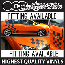 FORD FOCUS FIESTA CHEQUER SIDE GRAPHICS WITH STRIPES PLUS BONNET AND BOOT DECAL