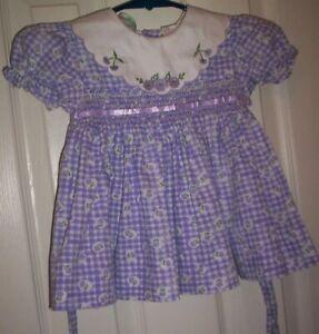GIRL~ALISON ANN~PURPLE CHECK FLORAL COTTON SMOCK DRESS/WHITE SCALLOP COLLAR 12M