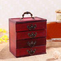 4 Schichten Holz Klassisch Schublade Schmuck Schrank Box Aufbewahrung Ständer