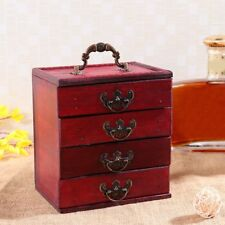 4 Layers Wooden Classic Drawer Jewelry Cabinet Box Storage Stand Organizer Case