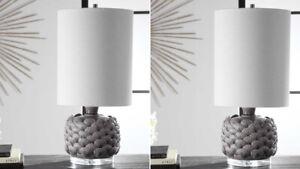 "PAIR BONDI 25"" MODERN COASTAL DECOR CERAMIC TABLE BUFFET LAMPS UTTERMOST 29742"