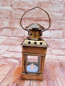 SMALL ANTIQUE VINTAGE BRASS & GLASS TEA LIGHT HOLDER LANTERN