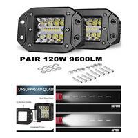"4.8"" LED Flush Mount Lights Spot Flood Combo Bumper Reverse Lamps 6500K White"