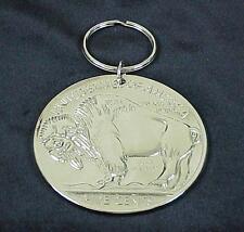 Extra Large 1935 Buffalo Indian Head Nickel Silver Tone Metal Key Ring Chain
