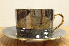 Hues N Brews Gilt Metallic Splash Design Teacup and Saucer Stunning