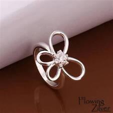 925 Sterling Silver Filled Ring Butterfly Swarovski Crystal Women's Size 6 7 8