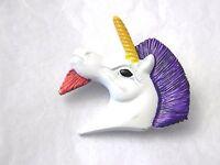 Vintage Enamel Unicorn Head Pin Brightly Colored Brooch