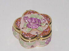 Floral Pink Rose Trinket Box Enamel Swarovski Crystals