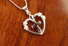 Hawaiian 925 Sterling Silver Heart w/ Cross & Plumeria Pendant Necklace #SP82401