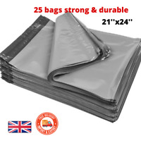 """25 BAGS - 21' x 24"""" STRONG POLY MAILING POSTAGE POSTAL QUALITY SEAL GREY BAGS UK"""