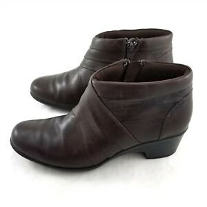 Clarks Brown Leather Ankle Boots Booties Side Zipper Womens 8.5 M