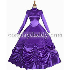 Beauty and Beast Princess Belle Halloween Party Purple Dress Cosplay Costume L00