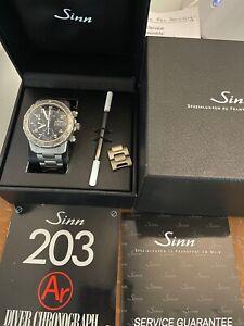 Sinn 203 Ti Ar 41mm Diver Chronograph Watch Titanium