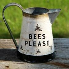 NEW!~Farmhouse Metal Pitcher~BEES PLEASE~Vintage/Retro/Primitive/Bumble Bee/Hive