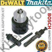 3 Piece Drill Chuck with SDS adapter & Key fits Makita Dewalt Bosch Hilti AEG