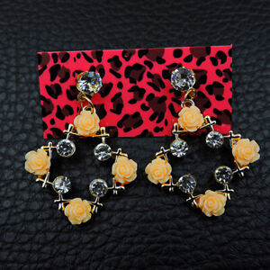 Betsey Johnson Yellow Enamel Rhinestone Flower Crystal Women's Stand Earrings