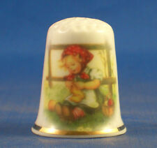 Birchcroft China Thimble -- Hummel Girl Knitting -- Free Dome Box