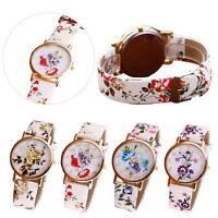 Womens Watch Pretty Flower Patterns Leather Band Analog Quartz Vogue Wrist Watch