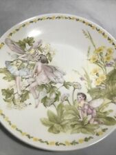 More details for crown staffordshire garden fairies plate plaque 19.5cm collectable white pink