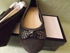 Nine West Winetta Gray Suede 9 Slip-On Embellished Ballerina Moc Shoe Nice!! NIB