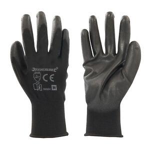 Polyurethane Palm Work Gloves PU-coated EN388 Cat II-rated Black Medium
