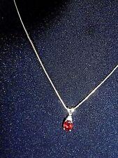 10K Yellow Gold Chain Oval Garnet Diamond Vintage Pendant