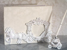 White Cinderella Enchanted Royal Carriage Wedding Guest Book Pen Set Holder Gift