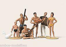 Merten 2174 h0, suonatori sulla spiaggia, 6 figure, dipinta a mano, nuovo