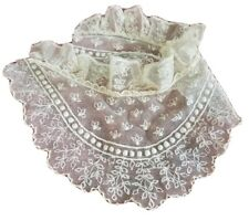 Antique Tambour Lace Collar Ruffles & Bobble Dots French Doll Dress Trim