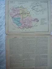 carte scolaire départementale (fin XIX ?) aquarellée avec notice  - TARN -