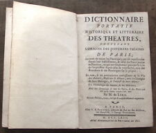 Dictionnaire des THEÂTRES de Paris 1763 M. de Léris Toutes les Pièces 1ère part.