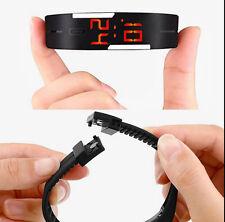Black Unisex Sports Bracelet Red LED Digital Trendy Rubber Silicone Wrist Watch