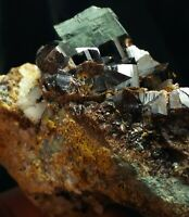 Vesuvianite Crystals Cluster on Matrix with chevkinite-(Ce) and albite from Pak.