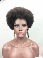 Afro Wig Machine None Lace 100%  Brazilian Human Remy Glueless Baby Hair Wig