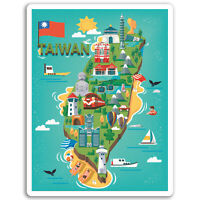 2 x 10cm Taiwan Vinyl Stickers - Taipei Fun Travel Sticker Laptop Luggage #17258