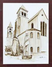 Aquarell Karikatur Basilika Echternach Luxemburg Bischof signiert 1991 34x25cm