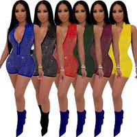 Women's Sexy Short Sleeveless Rhinestone Bodycon Jumpsuit V Neck Clubwear Romper
