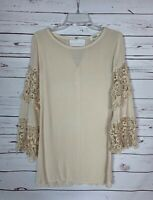 Umgee USA Boutique Women's S Small Lace Boho Summer Fall Cute Tunic Top Blouse
