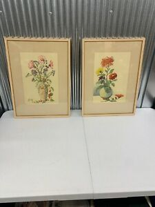 A PAIR OF VINTAGE LAURENCE PERUGINI BLOSSOM IN VASE WATERCOLOR BOTANICAL PRINTS