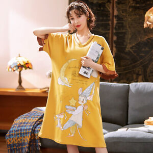 Women Sleep Shirt Dress Cotton Short Sleeve Nightgown Cartoon Sleepwear Homewear