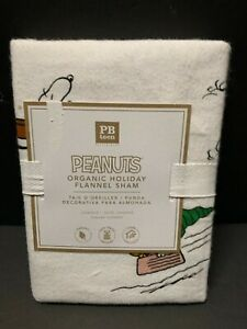 Flannel Pottery Barn Teen PEANUTS Standard Sham 4 Duvet Holiday Christmas NEW