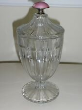 HEISEY ETCHED GLASS CANDY JAR WITH STERLING AND PINK KNOB