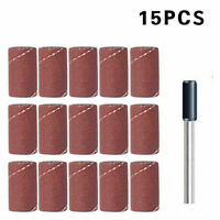 15 Stück Schleifhülsen Schleifpapier für Dremel Zubehör, Proxxon + 1 Mitnehmer