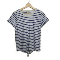 J. Crew T-Shirt Size S Womens Blue and White Stripes Casual Top Short Sleeve