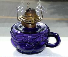 Antique deep purple kerosene finger 'peanut' patterned OIL LAMP *FREE SHIPPING!