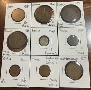 Old foreign coin lot (9) coins 1600s-1900s conditions vary- Nice world coin mix!