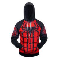 Spiderman Men's Sport Shirt Printed Tops Cosplay Costume 3D Hooded Sweatshirt