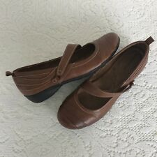 Naturalizer Size 8M Brown Leather Shoes Flat Slip On Strap Cushioned Insole